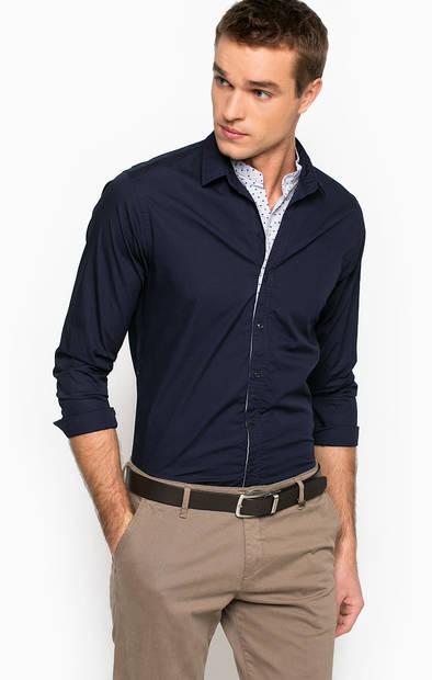 Рубашка из хлопка с контрастной вставкой