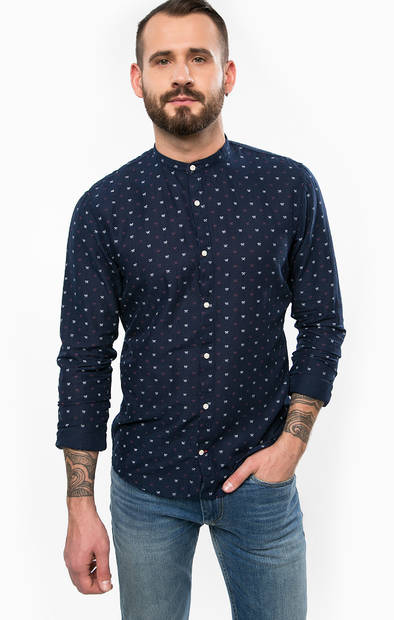 Рубашка из хлопка с воротником-стойкой
