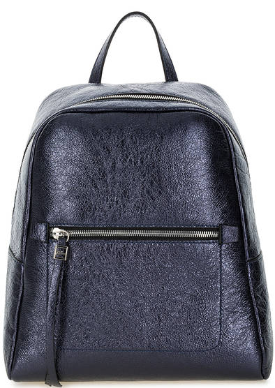 Синий кожаный рюкзак на молнии