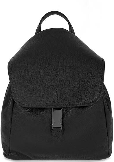 Черный кожаный рюкзак с откидным клапаном
