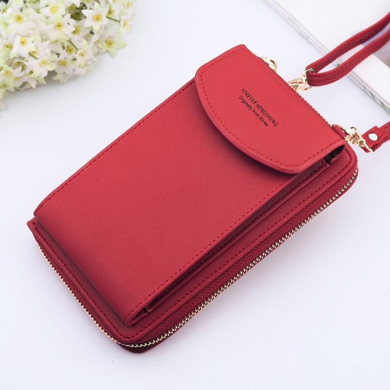 2020 для женщин кошелек однотонные Цвет кожаные плечевые ремни сумка Мобильный телефон большой с отделением для карт, чехол для телефона с фу...