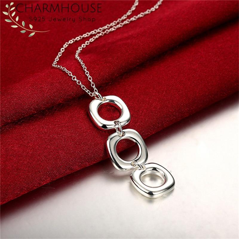 Charmhouse ожерелья из стерлингового серебра 925 пробы для женщин квадратный кулон и ожерелье со звеньями колье модные украшения Bijoux