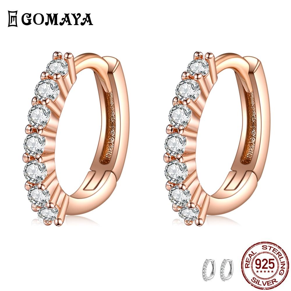 GOMAYA 100% 925 стерлингового серебра Ослепительная с прозрачным кубическим цирконием, круглые серьги-кольца и серьги для женщин, хорошее ювелирн...