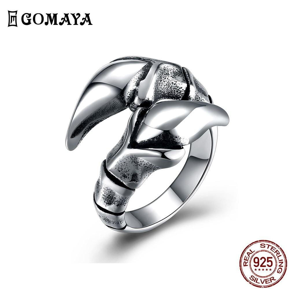 GOMAYA 316L нержавеющая сталь Paw кольца для мужчин; Цвет Черный; Обувь на плоской подошве с Кольцо Личность в винтажном стиле Стиль модные юбилейн...