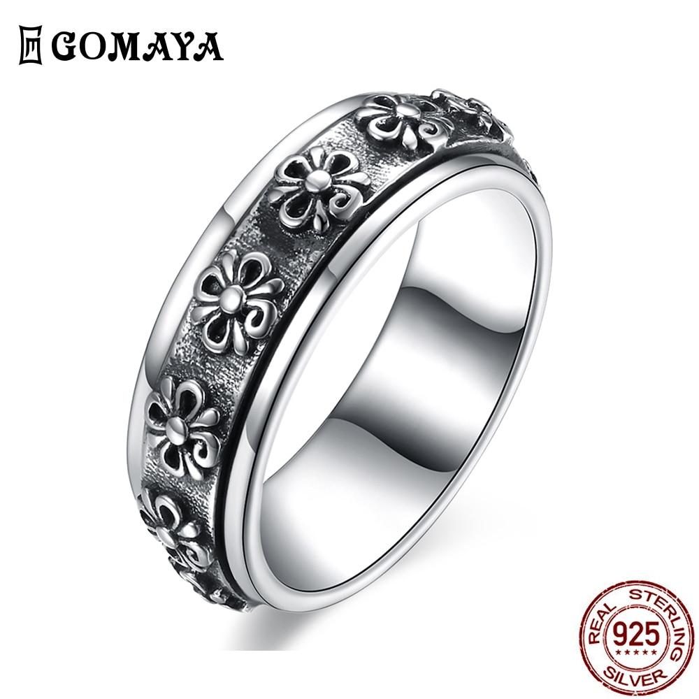 GOMAYA 925 пробы серебро Винтаж в стиле панк кольца для Для мужчин Уникальный Творческий кольцо для друга День рождения подарок новое поступлен...