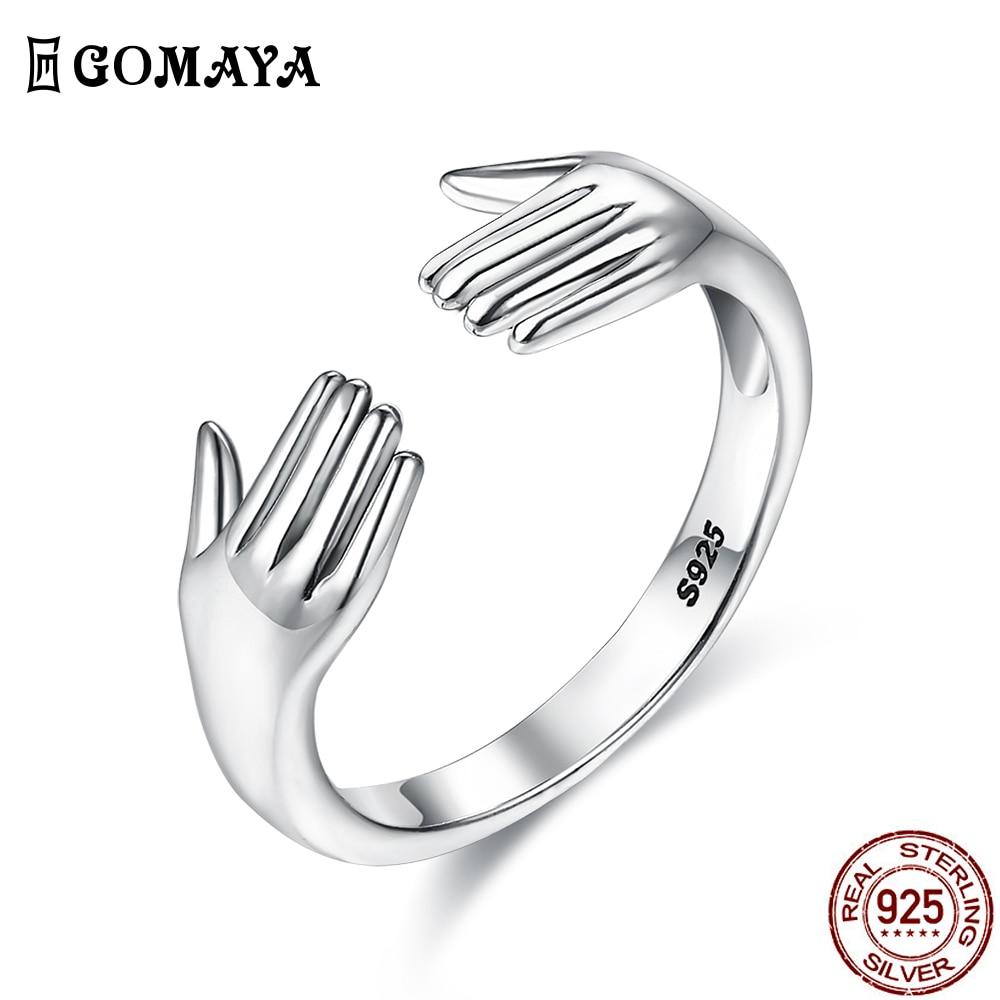 GOMAYA 925 пробы Серебряное кольцо на палец для обручального кольца для Для женщин двойной ручной Форма кольцо простой в неоготическом стиле Юб...
