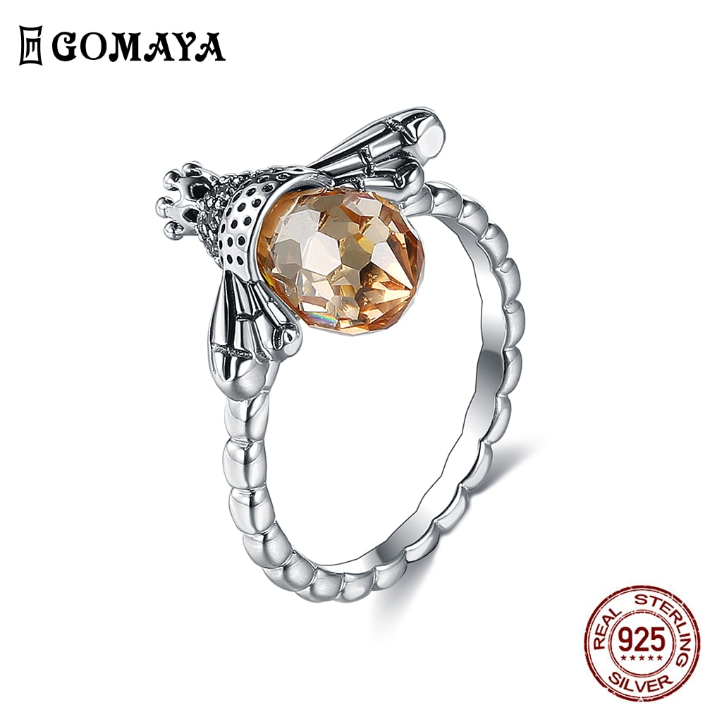 GOMAYA Аутентичные 925 стерлингового серебра Оранжевый фианит крыло животное Милая божья коровка, кольцо на палец для женщин, хорошее ювелирное...