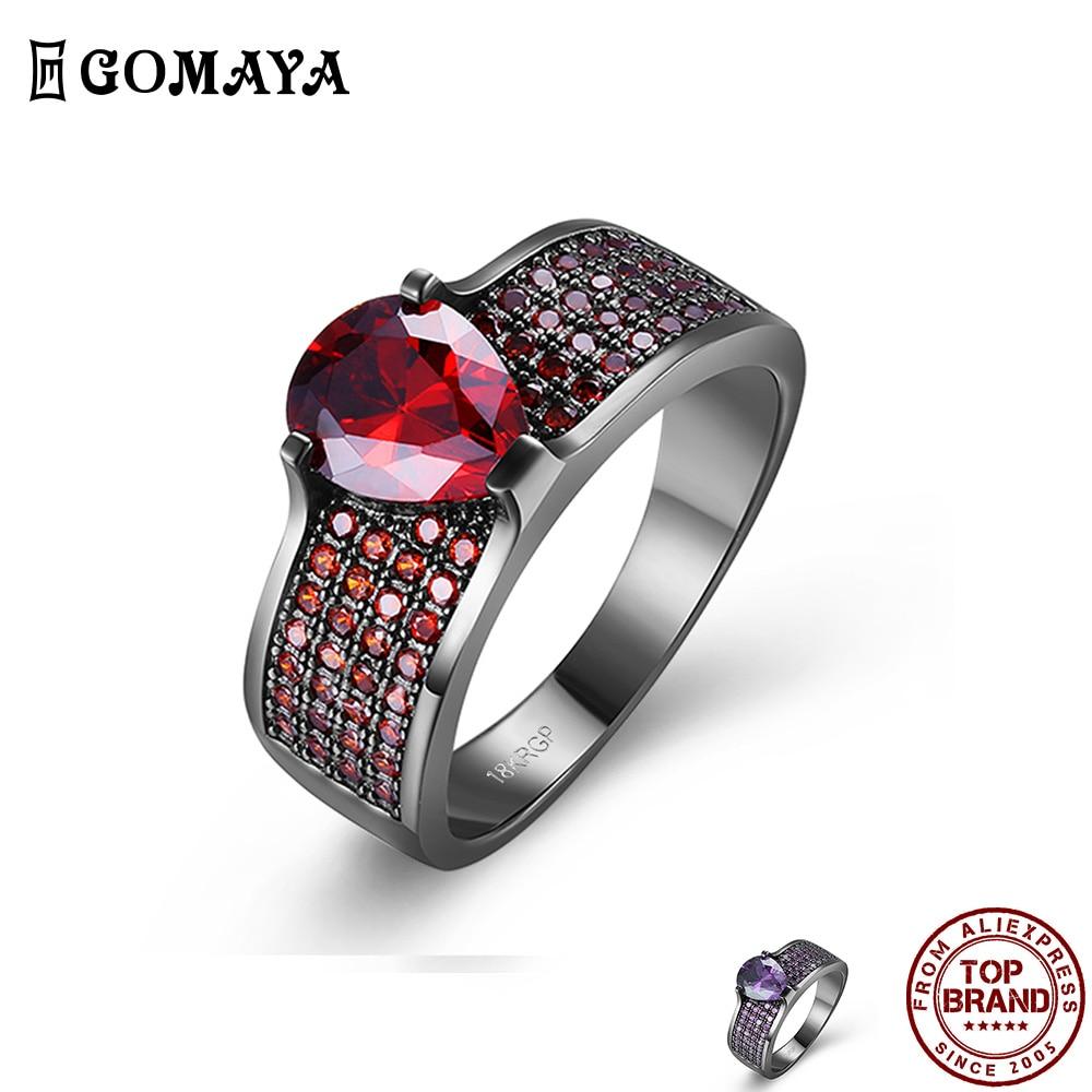 GOMAYA классической элегантностью, кольца для женщин, в форме капли воды Форма кубического циркония палец кольцо ювелирные изделия вечерние п...