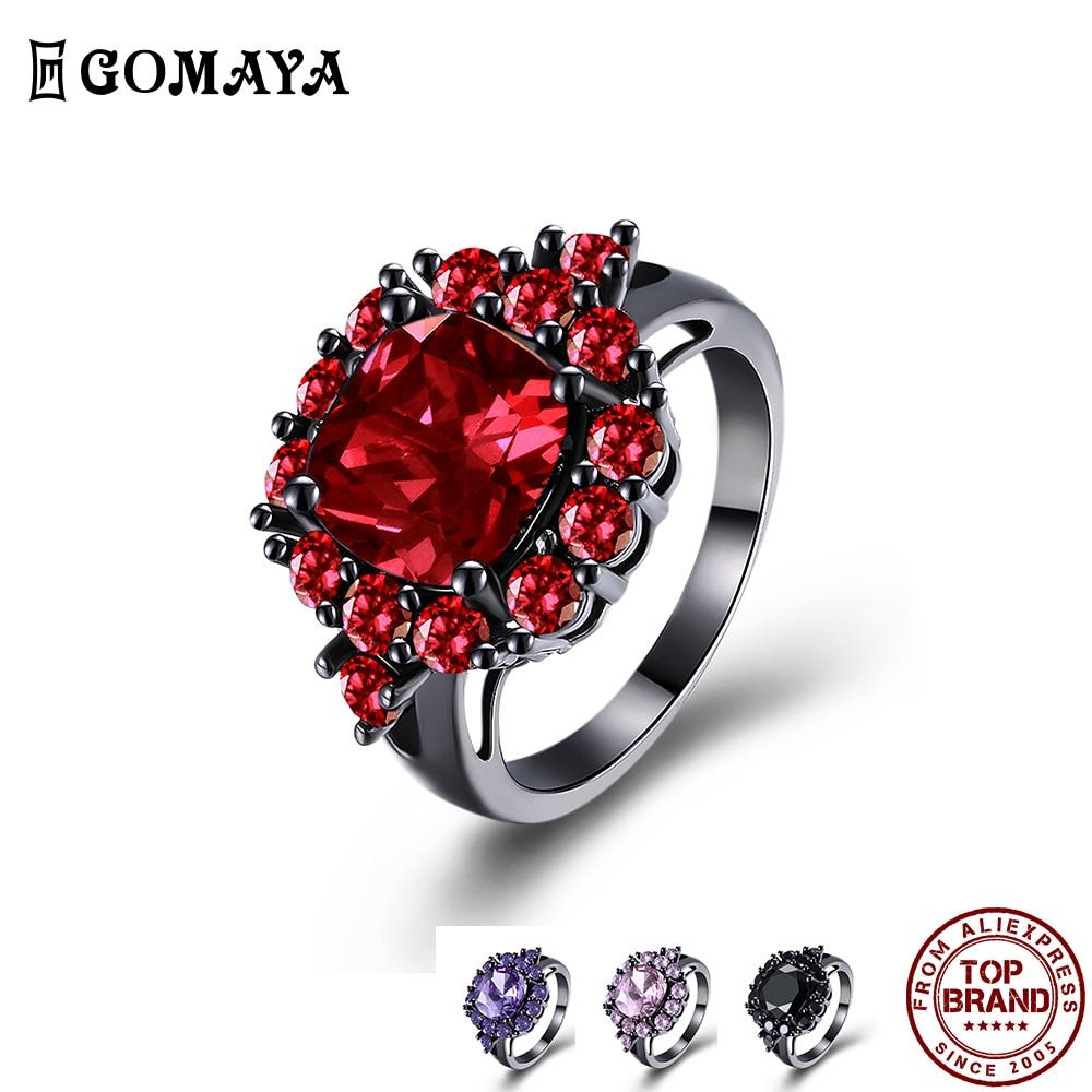 GOMAYA красного цвета в виде геометрических фигур, кубический цирконий, кольца для женщин, романтичное и элегантное кольцо вечерние фестиваль ...