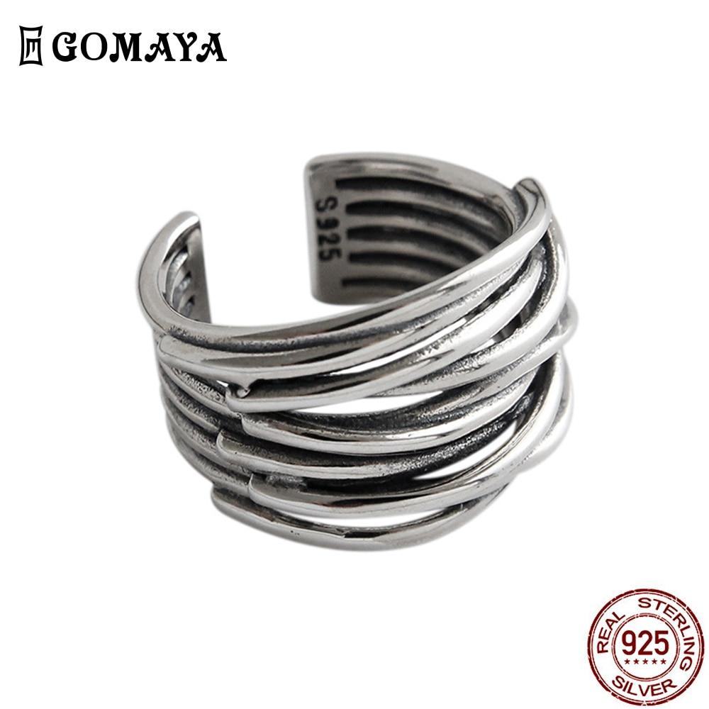 GOMAYA женские кольца 925 стерлинговые серебряные Многослойные открытие регулировочного хип-хоп Винтажные ботинки в стиле панк на палец, ювели...