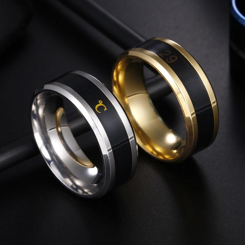 Кольца с эмоциями из титановой стали для мужчин и женщин, особые модные водонепроницаемые ювелирные изделия, чувствительные к температуре, ...