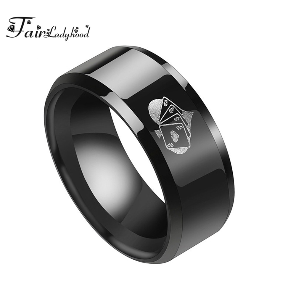 Кольцо FairLadyHood мужское из титановой нержавеющей стали в стиле панк, ювелирное изделие черного цвета с гравировкой на удачу, 8 мм, хороший пода...