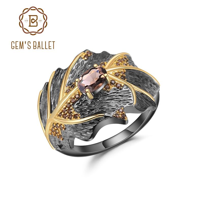 Кольцо женское ручной работы с натуральным дымчатым кварцем 0,75 карата