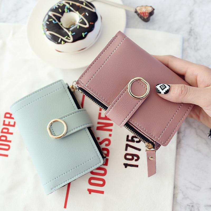 Короткий кошелек для женщин 2020, модный кожаный кошелек для женщин, однотонная женская сумка-клатч на молнии с пряжкой, Дамский кошелек