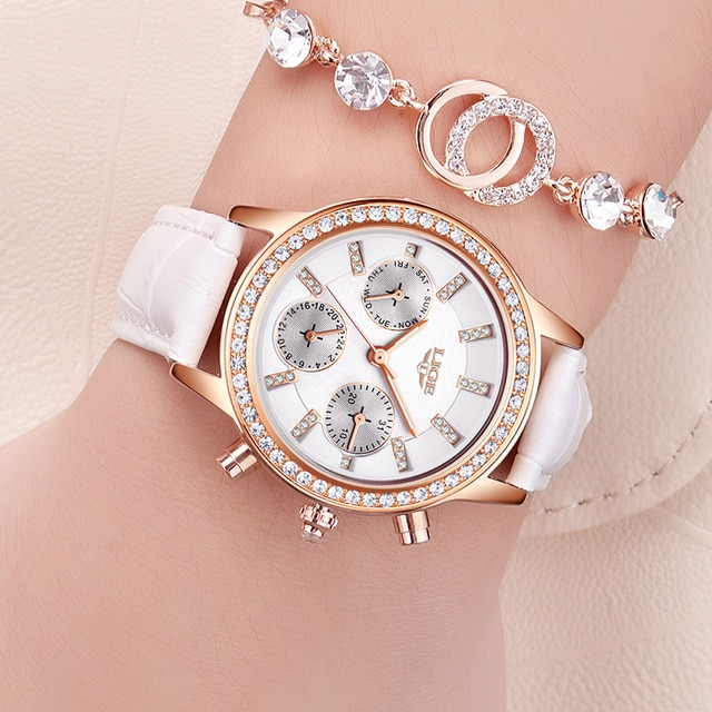 LIGE топовые Роскошные Брендовые женские часы для отдыха, модные кожаные кварцевые женские часы со стразами под платье, женский подарок, Relogio ...