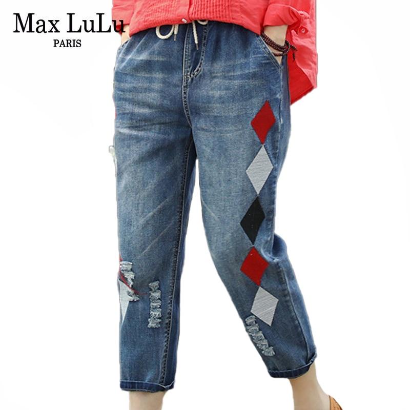 Max LuLu 2020 модные летние женские Роскошные джинсы с вышивкой Женские винтажные рваные джинсовые брюки свободные эластичные штаны-шаровары