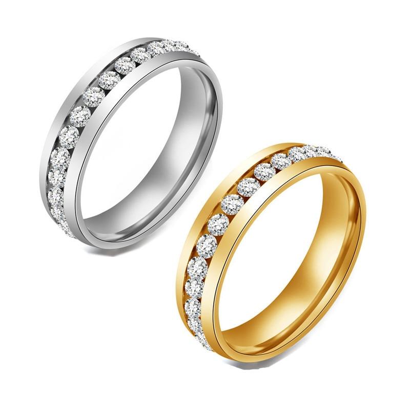 Модная Золотая инкрустация Стразы нержавеющая сталь кольцо для женщин классический кристалл обручальное свадебное кольцо ювелирные издел...