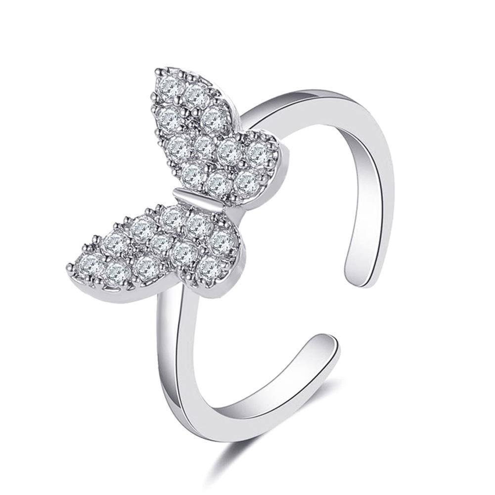 Модное женское кольцо с крупными камнями темперамент бабочка Форма конструкция открытия типа «Стразы Регулируемые кольца для женщин вечер...