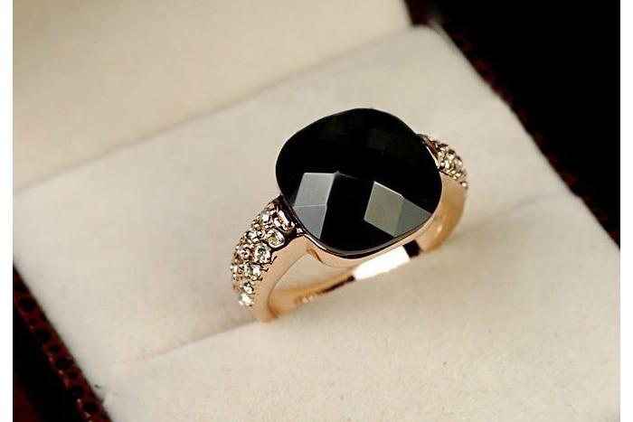 Модные свадебные украшения, Женское Обручальное кольцо, женское элегантное кольцо с большим черным квадратным искусственным камнем, новый ...