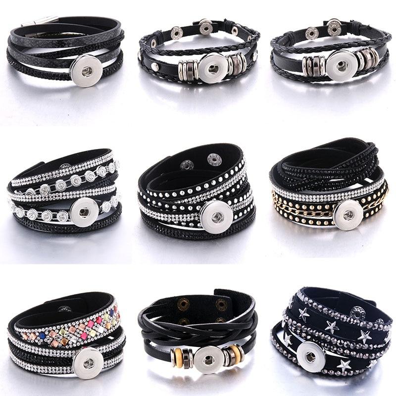 Новый черный кожаный браслет для женщин, стразы, многослойный кожаный браслет, сделай сам, 18 мм, кнопки, ювелирные изделия, аксессуары, подар...