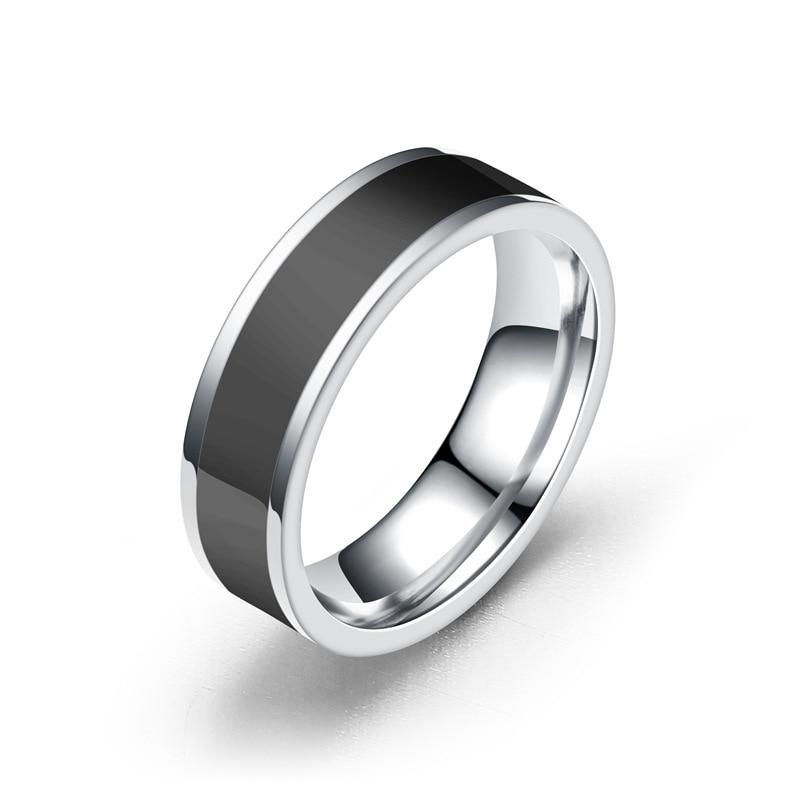 Простые черные кольца для женщин, ширина 6 мм, обручальные кольца для мужчин, кольцо из нержавеющей стали, ювелирные изделия, кольцо для женщ...