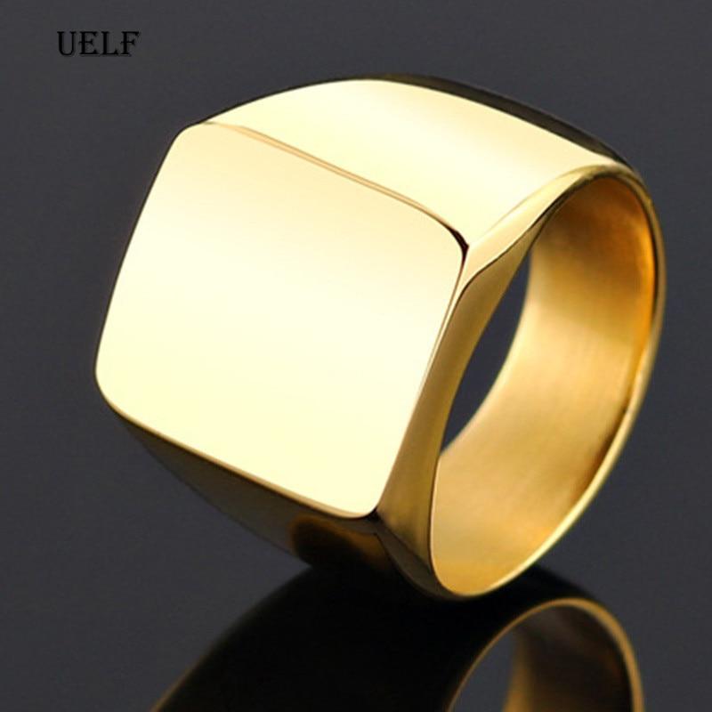 Uelf Размер 7-12 поддержка Прямая поставка польское кольцо 316L ювелирные изделия из нержавеющей стали золотые серебряные черные крутые мужские ...