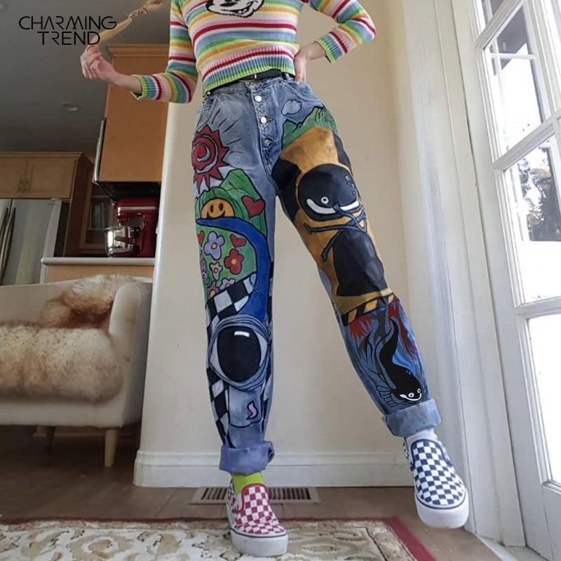 Женские джинсы с мультяшным принтом, зимние штаны-шаровары для девочек, однобортные женские джинсы с высокой талией