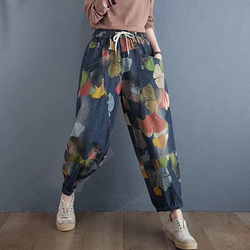 Женские джинсы с высокой талией, повседневные свободные брюки-шаровары из денима с цветочным принтом в винтажном стиле, уличная одежда, S1845, ...