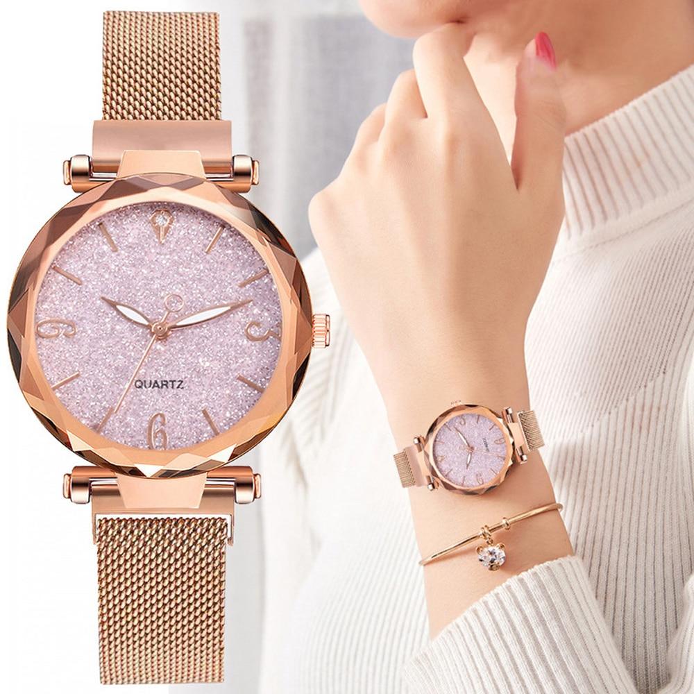 Женские наручные часы с сетчатым браслетом, часы цвета розового золота с магнитной застежкой и изображением звездного неба, 2021