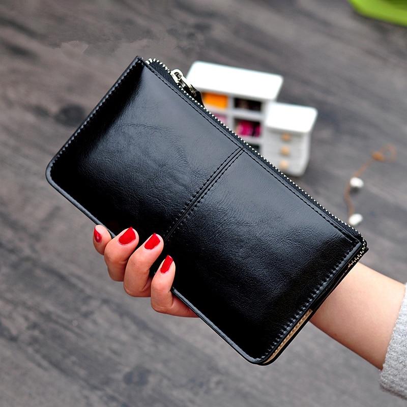 Женский винтажный клатч из вощеной кожи, кошелек на молнии, Женский вместительный кошелек для мелочи, простой кошелек с держателем для карт