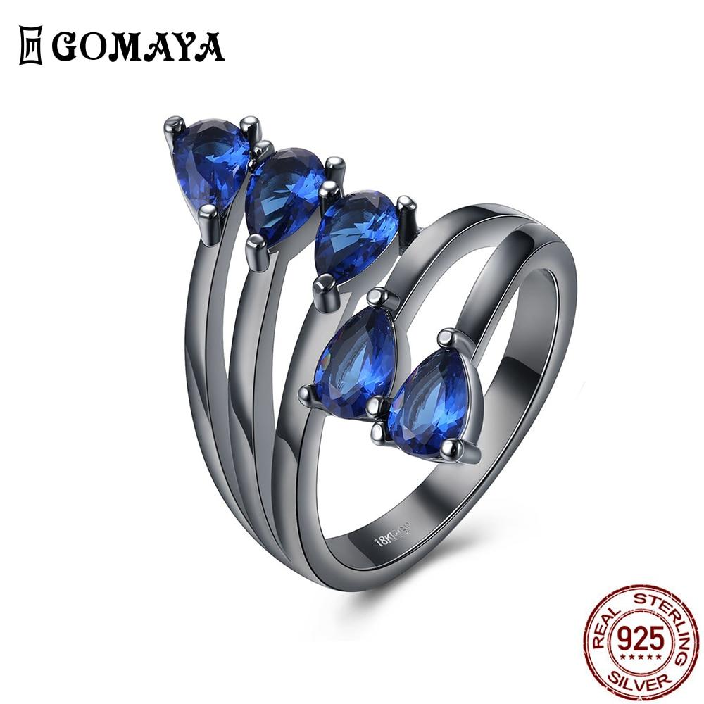 Женское кольцо GOMAYA с черным покрытием из стекла, классическое модное очаровательное дизайнерское кольцо на палец, подходит для праздника, д...