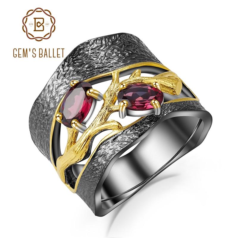 Женское кольцо из родолита GEM'S BALLET, кольцо с камнями из стерлингового серебра 925 пробы, ювелирное изделие ручного изготовления