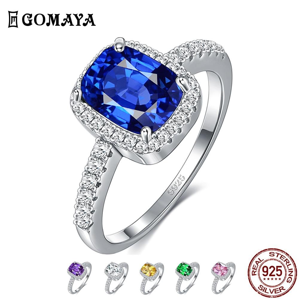 Женское кольцо из серебра 925 пробы с изумрудом, 6 цветов