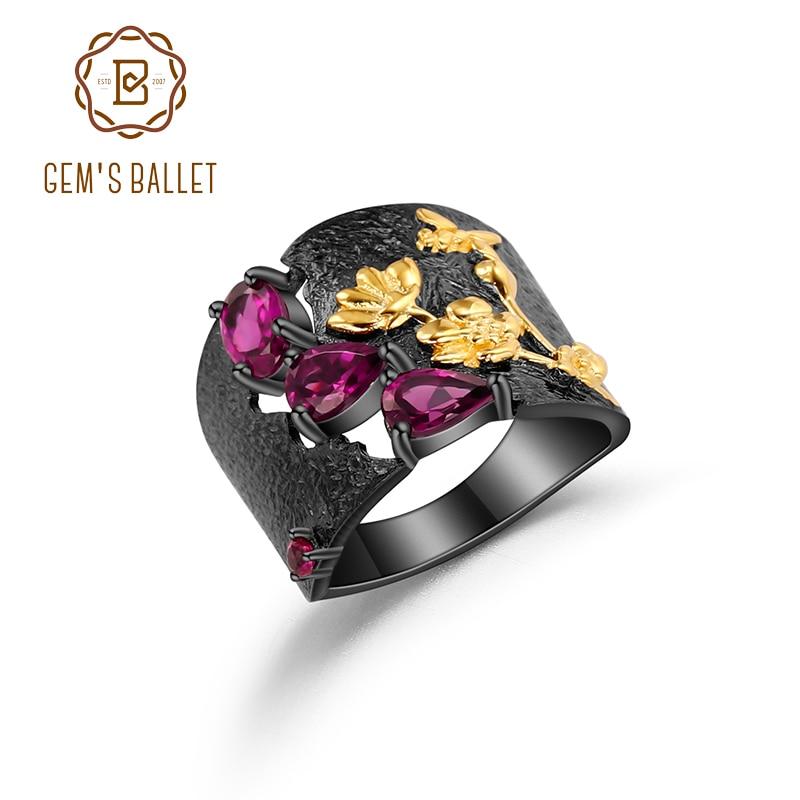Женское кольцо из серебра 925 пробы, с натуральным гранатом и родолитом