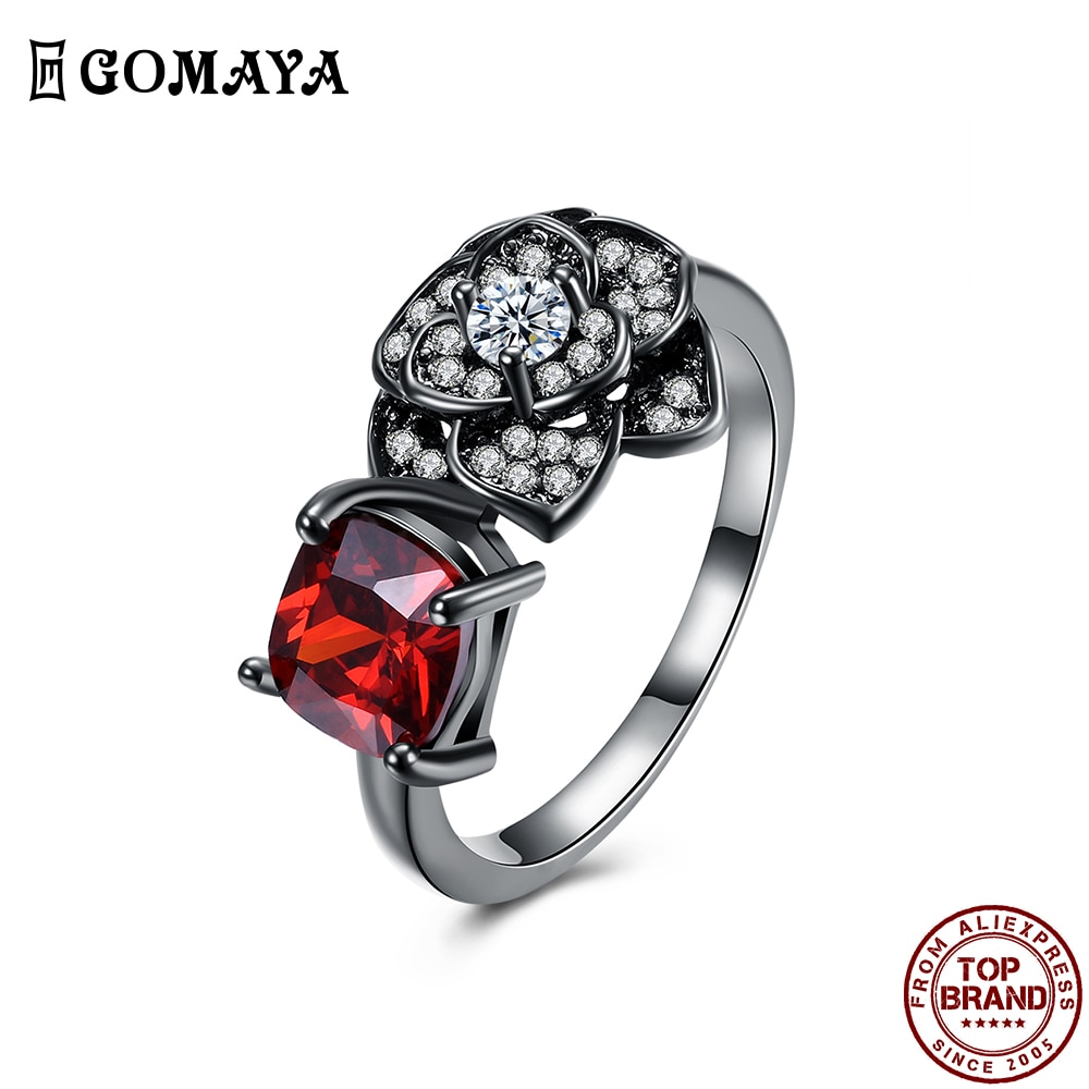 Женское кольцо с двойной мозаикой GOMAYA, кольцо с красным Цирконом и цветком, роскошное романтичное украшение