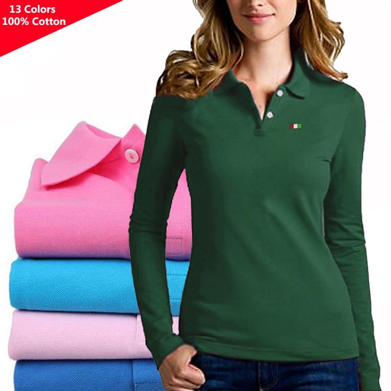 100% из хлопка; Сезон весна-осень; Новая женская с длинным рукавом футболки-поло рубашки на каждый день, одежда для девушек футболки с принтом; ...