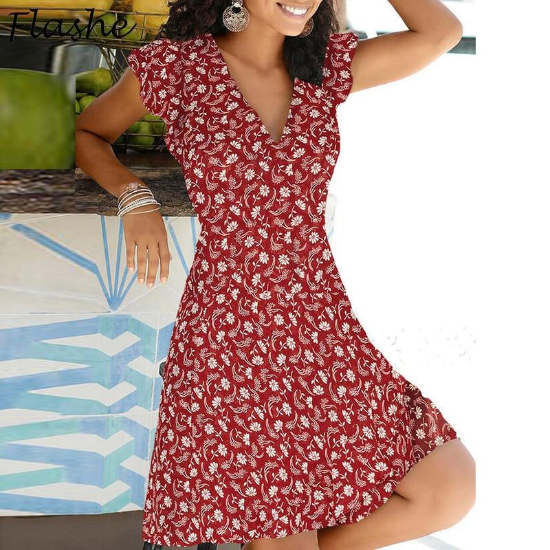 2021, для весны и лета, Ретро стиль, вечерние платья с v-образным вырезом элегантное сексапильное Платье Бохо пляжные женские Цветочный принт п...