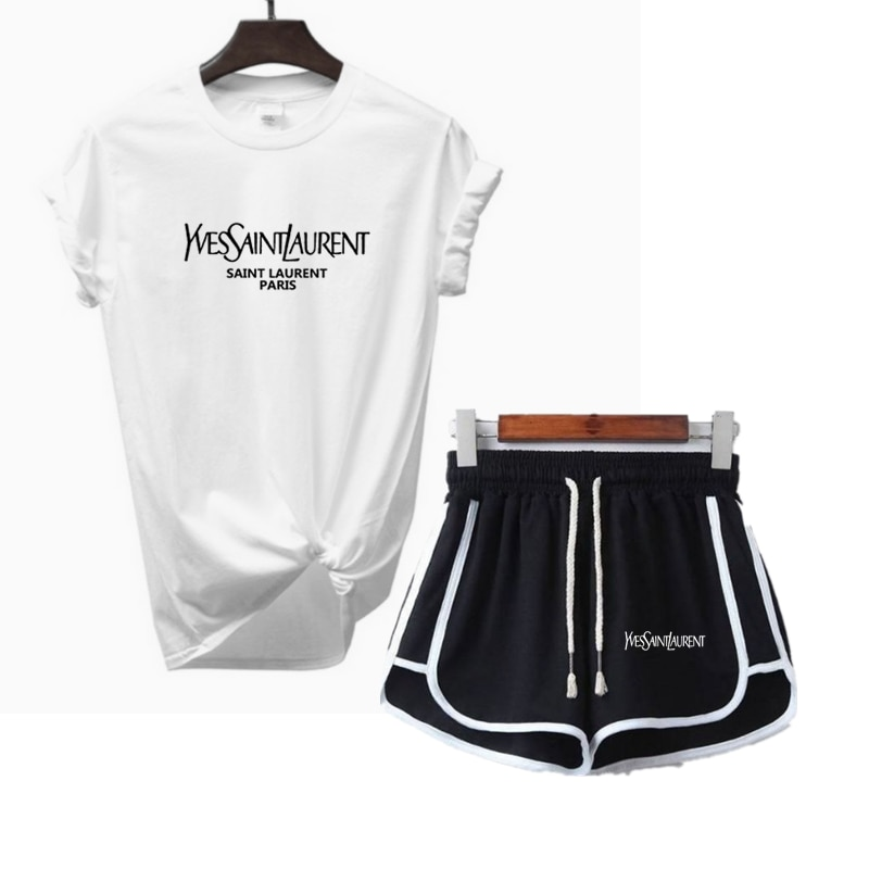 2021 для женщин на лето и весну спортивный костюм спортивная одежда для фитнеса с коротким рукавом, футболка + шорты, комплект из 2 предметов, с...