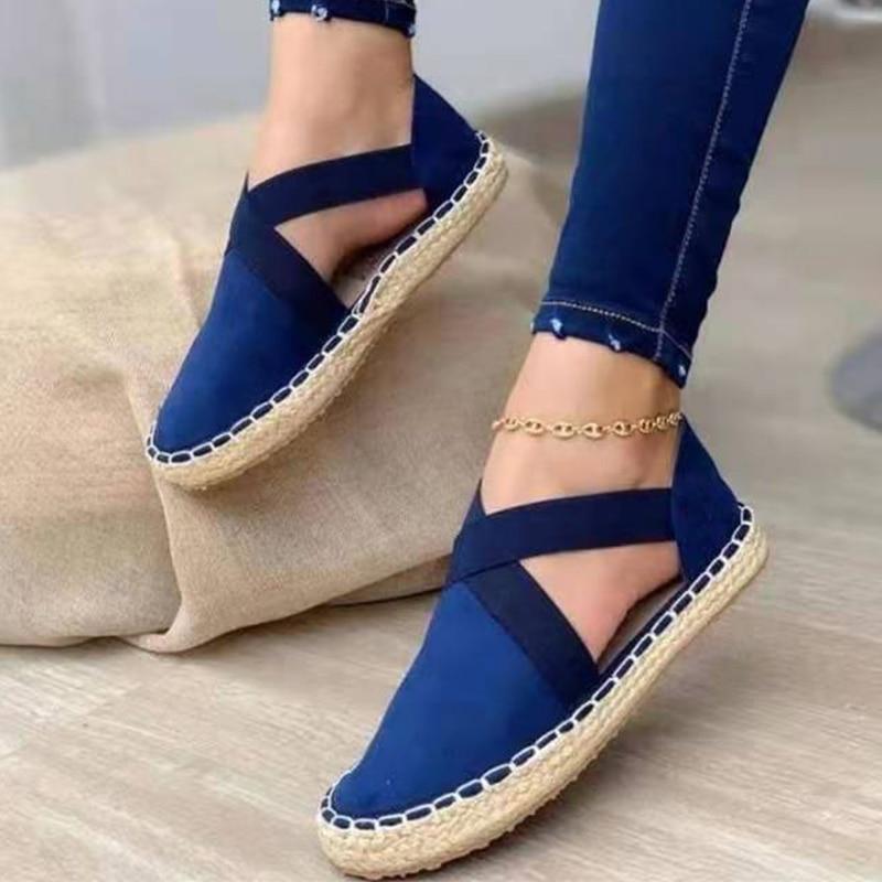 2021 Новая женская Соломенная обувь на плоской подошве, сандалии размера плюс из флока; Удобная женская обувь; Однотонная обувь для отдыха на ...