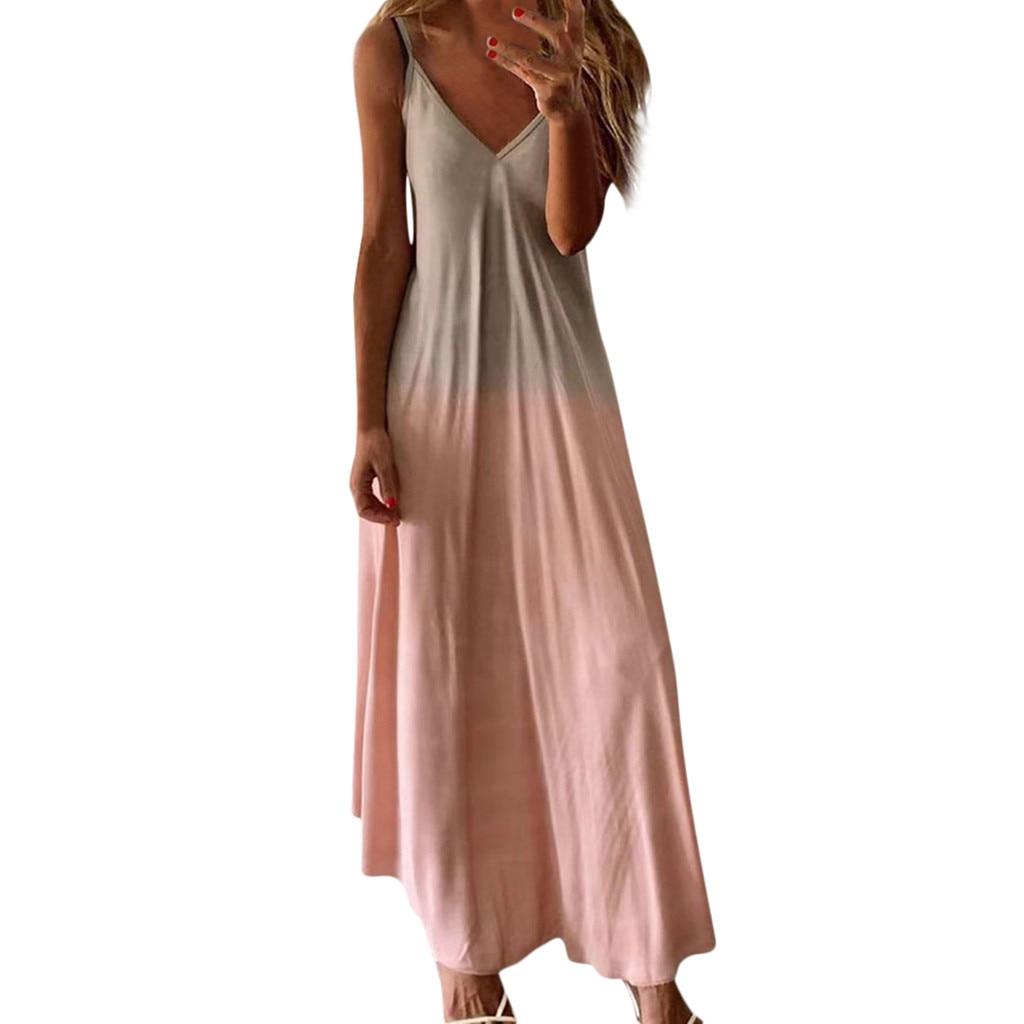 2021 Платье женское Повседневное платье без рукавов на бретелях с v-образным вырезом, майки без рукавов с принтом длинное платье размера плюс ...