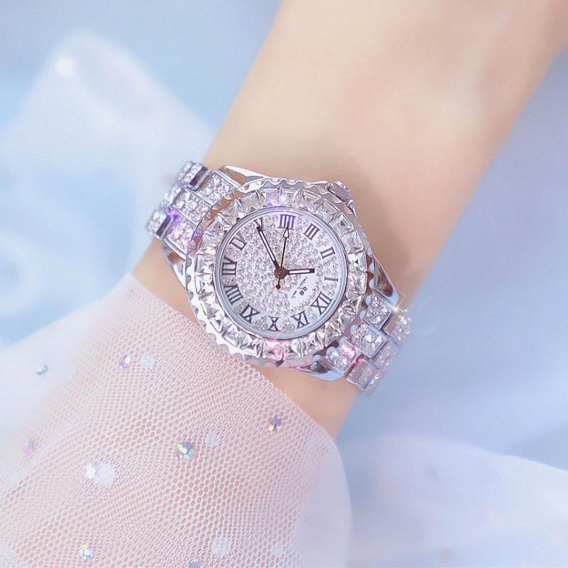Bs Для женщин часы Новинка; Лидер продаж часы Для женщин наручные часы класса люкс со стразами брендовые Для женщин часы Montre Pour Femme