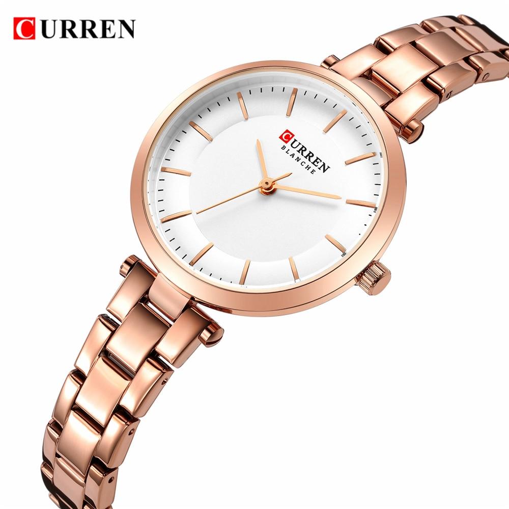 Часы CURREN женские кварцевые, люксовые брендовые минималистичные повседневные тонкие наручные, со стальным браслетом из розового золота