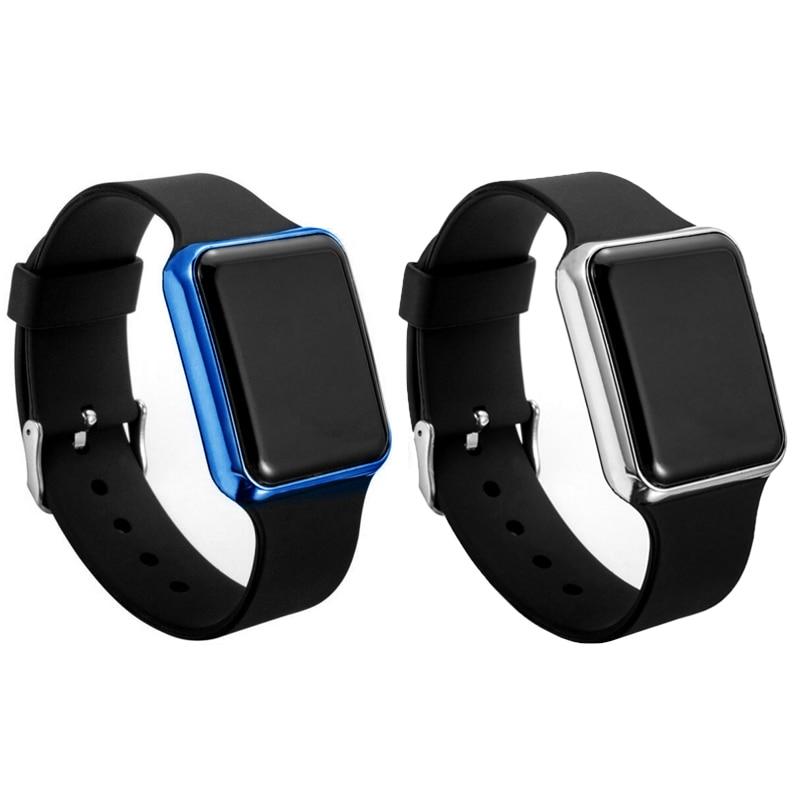 Часы наручные спортивные унисекс, светодиодные цифровые модные с квадратным циферблатом, для влюбленных, для мужчин и женщин, 2 шт.
