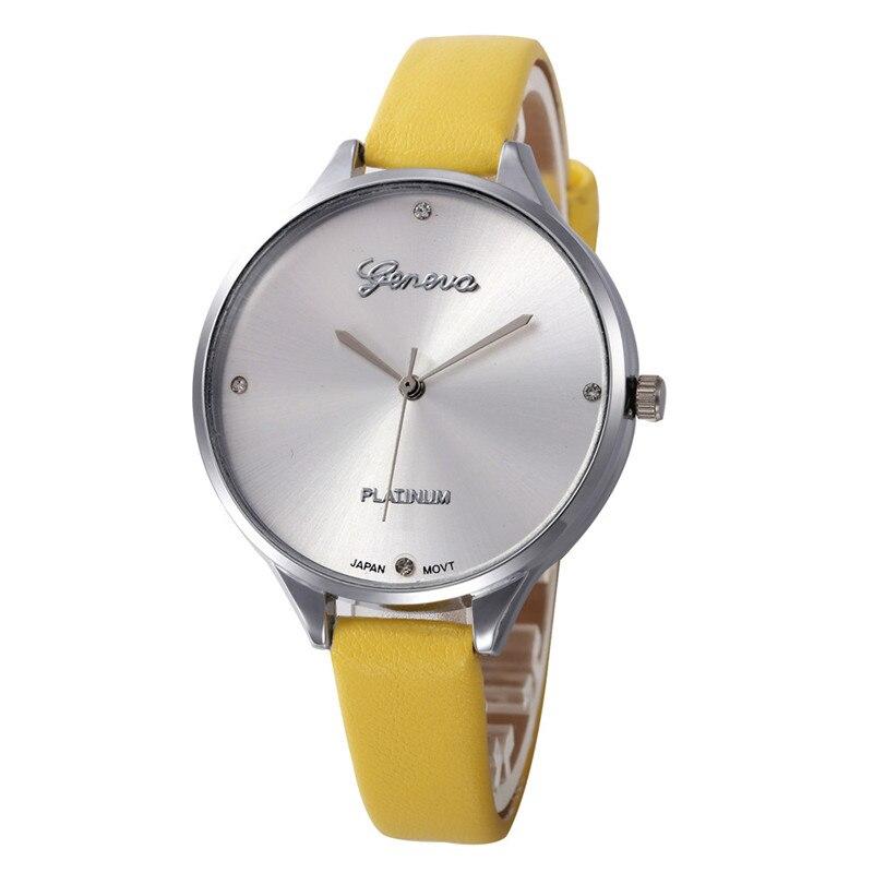 Часы наручные женские кварцевые с кожаным ремешком, Брендовые повседневные с простым циферблатом, # D