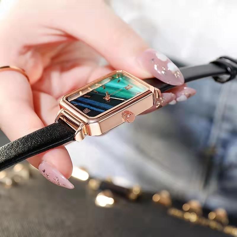 Часы SHSHD женские кварцевые с квадратным циферблатом, брендовые Модные Простые Роскошные с зеленым циферблатом, с сетчатым браслетом из розо...