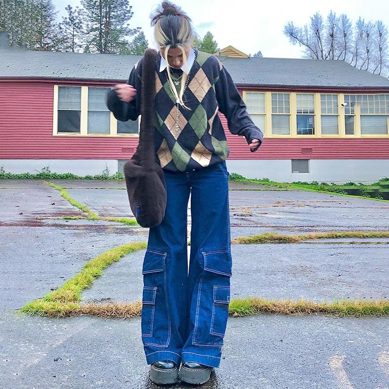 Джинсы женские Мешковатые с высокой талией, повседневные свободные брюки с широкими штанинами, винтажные прямые джинсы с большими карманам...