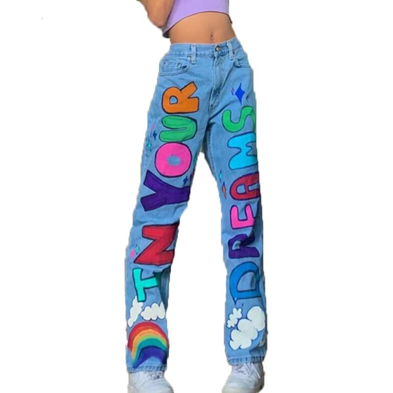 Джинсы женские прямые с высокой талией, повседневные свободные брюки из денима с разноцветным принтом букв, с широкими штанинами, синие, на ...