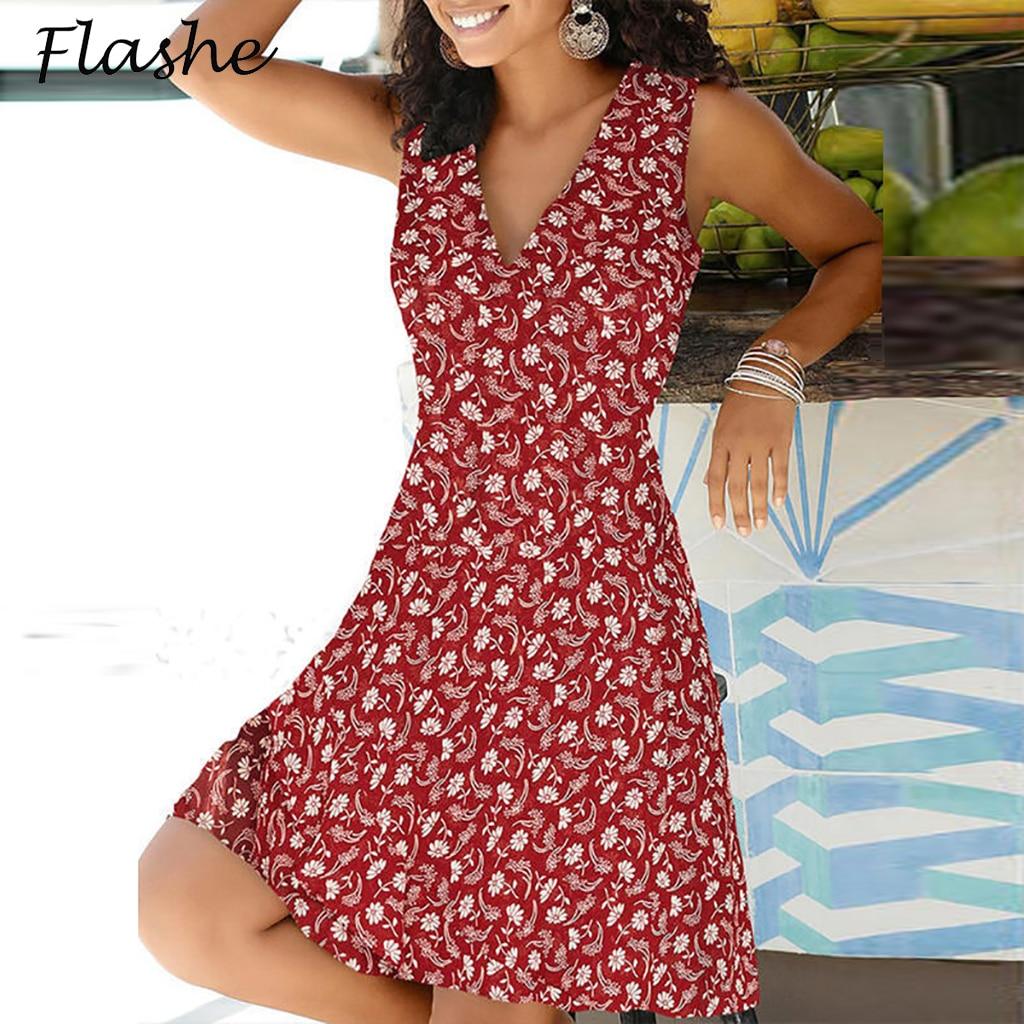 Eleganrt Цветочный принт вечерние платье для женщин; Большие размеры V образным вырезом платье с асимметричным подолом без рукавов богемное лет...