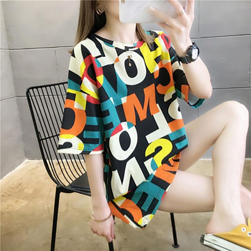 Футболка женская свободного покроя с коротким рукавом, корейский стиль, модный топ средней длины в стиле Ins, дизайнерская нишевая одежда для...