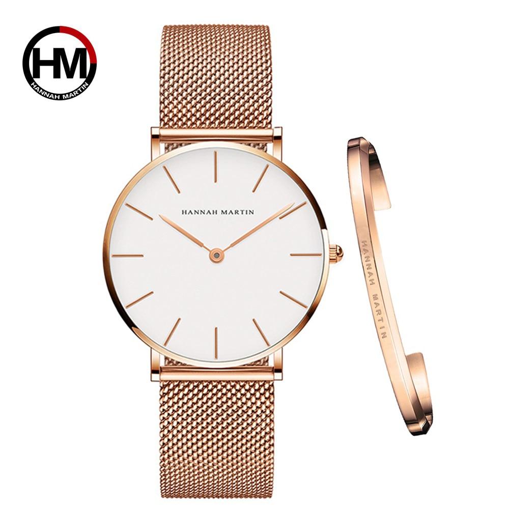 Ins/Лидер продаж, 1 комплект марки наручных часов и браслет кварца Японии Movt дамы Водонепроницаемый цвета розового золота простые женские час...